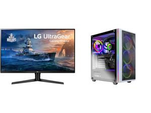 "LG 32GK650F-B 32"" (Actual size 31.5"") Quad HD 2560 x 1440 2K 144Hz 2xHDMI DisplayPort AMD Radeon FreeSync 3-Side Borderless Anti-Glare Backlit LED Gaming Monitor and Skytech Chronos Gaming PC Desktop AMD Ryzen 7 5800X 3.80GHz NVIDIA GeForce"