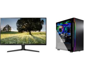 "LG ULTRAGEAR 32GK65B-B 32"" 144HZ 1ms QHD 2560 x 1440 2K Resolution 2 x HDMI DisplayPort Radeon FreeSync NVIDIA G-SYNC Compatible Borderless Design HDCP Widescreen LED Backlit Gaming Monitor and Skytech Gaming PC Desktop AMD Ryzen 5 3600 6-C"
