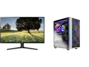 "LG ULTRAGEAR 32GK65B-B 32"" 144HZ 1ms QHD 2560 x 1440 2K Resolution 2 x HDMI DisplayPort Radeon FreeSync NVIDIA G-SYNC Compatible Borderless Design HDCP Widescreen LED Backlit Gaming Monitor and Skytech Chronos Gaming PC Desktop AMD Ryzen 7"