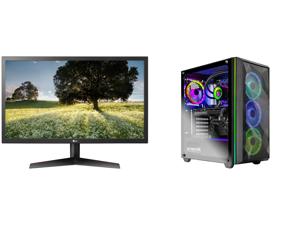 "LG 24GL65B-B 24"" Full HD 1920 x 1080 144Hz 1ms GTG 2 x HDMI DisplayPort Radeon FreeSync Technology Flicker Safe Anti-Glare Widescreen LED Backlit Gaming Monitor and Skytech Chronos Gaming PC Desktop AMD Ryzen 7 3700X 8-Core 3.60GHz NVIDIA G"