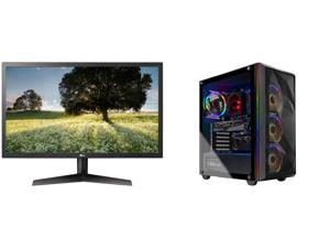 "LG 24GL65B-B 24"" Full HD 1920 x 1080 144Hz 1ms GTG 2 x HDMI DisplayPort Radeon FreeSync Technology Flicker Safe Anti-Glare Widescreen LED Backlit Gaming Monitor and Skytech Chronos Gaming PC Desktop - AMD Ryzen 7 3700X 3.60 GHz RTX 3070 8 G"