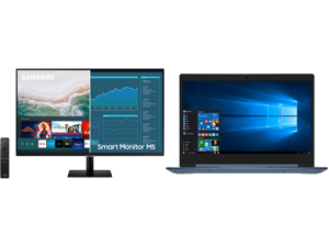 """SAMSUNG M5 Series 27M50A 27"""" Full HD 1920 x 1080 2 x HDMI USB Built-in Speakers Smart Monitor with Streaming TV and Lenovo Laptop IdeaPad 1 14ADA05 82GW001AUS AMD Athlon Silver 3050e (1.40 GHz) 4 GB Memory 128 GB PCIe SSD AMD Radeon Graphic"""