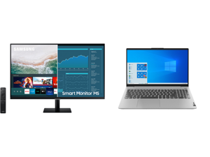 """SAMSUNG M5 Series 27M50A 27"""" Full HD 1920 x 1080 2 x HDMI USB Built-in Speakers Smart Monitor with Streaming TV and Lenovo Laptop IdeaPad 5 15ARE05 81YQ0008US AMD Ryzen 5 4000 Series 4500U (2.30 GHz) 8 GB Memory 512 GB PCIe SSD AMD Radeon G"""