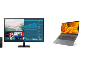 """SAMSUNG M5 Series 27M50A 27"""" Full HD 1920 x 1080 2 x HDMI USB Built-in Speakers Smart Monitor with Streaming TV and Lenovo Laptop IdeaPad 3 15ITL6 82H8000DUS Intel Core i7 11th Gen 1165G7 (2.80 GHz) 8 GB Memory 256 GB PCIe SSD Intel Iris Xe"""