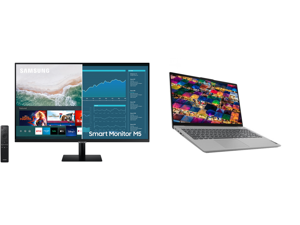 """SAMSUNG M5 Series 32M50A 32"""" Full HD 1920 x 1080 2 x HDMI USB Built-in Speakers Smart Monitor with Streaming TV and Lenovo Laptop IdeaPad 5 15ARE05 81YQ0009US AMD Ryzen 7 4000 Series 4700U (2.00 GHz) 8 GB Memory 512 GB PCIe SSD AMD Radeon G"""