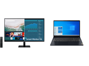 """SAMSUNG M5 Series 32M50A 32"""" Full HD 1920 x 1080 2 x HDMI USB Built-in Speakers Smart Monitor with Streaming TV and Lenovo Laptop IdeaPad 3 15ITL6 82H80006US Intel Core i5 11th Gen 1135G7 (2.40 GHz) 8 GB Memory 256 GB PCIe SSD Intel Iris Xe"""