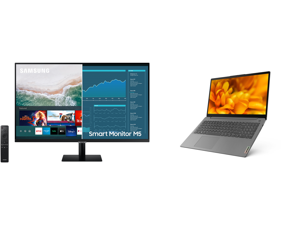 """SAMSUNG M5 Series 32M50A 32"""" Full HD 1920 x 1080 2 x HDMI USB Built-in Speakers Smart Monitor with Streaming TV and Lenovo Laptop IdeaPad 3 15ITL6 82H8000DUS Intel Core i7 11th Gen 1165G7 (2.80 GHz) 8 GB Memory 256 GB PCIe SSD Intel Iris Xe"""