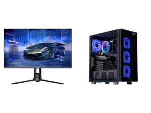"""Westinghouse WM27PX9019 27"""" Full HD 1920 x 1080 144Hz HDMI VGA DisplayPort AMD FreeSync Technology Flicker-Free Edgeless Design Eye Care Technology Widescreen Backlit LED Gaming Monitor and ABS Challenger Gaming PC - Ryzen 5 3600 - GeForce"""