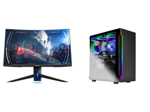 """Westinghouse WC27PX9019 27"""" Full HD 1920 x 1080 144Hz 2xHDMI DisplayPort AMD FreeSync Technology Flicker-Free USB 3.0 Hub Low Blue Light Eye Care Widescreen Backlit LED Curved Gaming Monitor and Skytech Shadow Gaming Computer PC Desktop - C"""