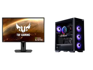 """ASUS TUF Gaming VG27AQ 27"""" 2560 x 1440 WQHD 2K Resolution 165Hz 1ms 2xHDMI DisplayPort Adaptive-Sync G-SYNC Compatible Asus Eye Care with Ultra Low-Blue Light Flicker-Free IPS HDR10 Gaming Monitor and ABS Challenger Gaming PC - Ryzen 5 3600"""