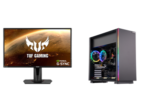 """ASUS TUF Gaming VG27AQ 27"""" 2560 x 1440 WQHD 2K Resolution 165Hz 1ms 2xHDMI DisplayPort Adaptive-Sync G-SYNC Compatible Asus Eye Care with Ultra Low-Blue Light Flicker-Free IPS HDR10 Gaming Monitor and ABS Master Gaming PC - Ryzen 5 3600 - G"""