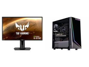 """ASUS TUF Gaming VG27AQ 27"""" 2560 x 1440 WQHD 2K Resolution 165Hz 1ms 2xHDMI DisplayPort Adaptive-Sync G-SYNC Compatible Asus Eye Care with Ultra Low-Blue Light Flicker-Free IPS HDR10 Gaming Monitor and ABS Gladiator Gaming PC - Intel i7 1070"""