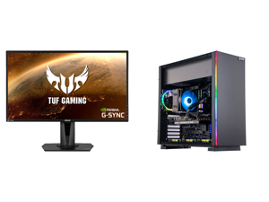"""ASUS TUF Gaming VG27AQ 27"""" 2560 x 1440 WQHD 2K Resolution 165Hz 1ms 2xHDMI DisplayPort Adaptive-Sync G-SYNC Compatible Asus Eye Care with Ultra Low-Blue Light Flicker-Free IPS HDR10 Gaming Monitor and ABS Gladiator Gaming PC - Ryzen 7 5800X"""