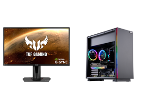 """ASUS TUF Gaming VG27AQ 27"""" 2560 x 1440 WQHD 2K Resolution 165Hz 1ms 2xHDMI DisplayPort Adaptive-Sync G-SYNC Compatible Asus Eye Care with Ultra Low-Blue Light Flicker-Free IPS HDR10 Gaming Monitor and ABS Gladiator Gaming PC - Ryzen 5 5600X"""