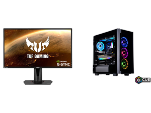 """ASUS TUF Gaming VG27AQ 27"""" 2560 x 1440 WQHD 2K Resolution 165Hz 1ms 2xHDMI DisplayPort Adaptive-Sync G-SYNC Compatible Asus Eye Care with Ultra Low-Blue Light Flicker-Free IPS HDR10 Gaming Monitor and ABS Legend Gaming PC - Intel i7 10700K"""