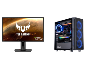 """ASUS TUF Gaming VG27AQ 27"""" 2560 x 1440 WQHD 2K Resolution 165Hz 1ms 2xHDMI DisplayPort Adaptive-Sync G-SYNC Compatible Asus Eye Care with Ultra Low-Blue Light Flicker-Free IPS HDR10 Gaming Monitor and ABS Legend Gaming PC - AMD R9 5950X - E"""
