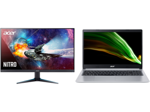 """Acer Nitro VG280K bmiipx 28"""" IPS 3840 x 2160P 4K 1ms UHD AMD FreeSync HDR 2 x HDMI DisplayPort Built-in Speaker Gaming Monitor and Acer Laptop Aspire 5 Thin and Light Laptop A515-45-R2B5 AMD Ryzen 5 5000 Series 5500U (2.10 GHz) 8 GB Memory"""