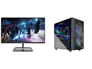 "Sceptre 27"" QHD IPS LED Monitor 2560 x 1440P 2K HDR400 HDMI DisplayPort up to 144Hz 1ms Height Adjustable Build-in Speakers Gunmetal Black 2021 (E275B-QPN168) and Skytech Chronos Mini Gaming Computer PC Desktop - Ryzen 5 3600 6-Core 3.60 GH"
