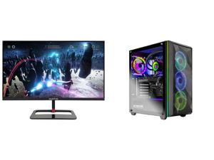 "Sceptre 27"" QHD IPS LED Monitor 2560 x 1440P 2K HDR400 HDMI DisplayPort up to 144Hz 1ms Height Adjustable Build-in Speakers Gunmetal Black 2021 (E275B-QPN168) and Skytech Chronos Gaming PC Desktop AMD Ryzen 7 3700X 8-Core 3.60GHz NVIDIA GeF"