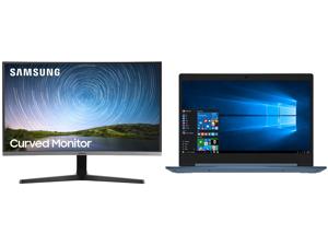 """Samsung C27R500 27"""" Full HD 1920 x 1080 AMD FreeSync VGA HDMI Flicker-Free Curved LED Backlit Monitor and Lenovo Laptop IdeaPad 1 14ADA05 82GW001AUS AMD Athlon Silver 3050e (1.40 GHz) 4 GB Memory 128 GB PCIe SSD AMD Radeon Graphics 14.0"""" Wi"""
