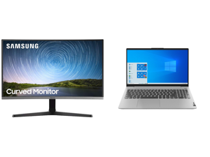 "Samsung C27R500 27"" Full HD 1920 x 1080 AMD FreeSync VGA HDMI Flicker-Free Curved LED Backlit Monitor and Lenovo Laptop IdeaPad 5 15ARE05 81YQ0008US AMD Ryzen 5 4000 Series 4500U (2.30 GHz) 8 GB Memory 512 GB PCIe SSD AMD Radeon Graphics 15"