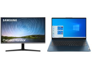 "Samsung C27R500 27"" Full HD 1920 x 1080 AMD FreeSync VGA HDMI Flicker-Free Curved LED Backlit Monitor and Lenovo Laptop IdeaPad 5 15ALC05 82LN006CUS AMD Ryzen 7 5000 Series 5700U (1.80 GHz) 8 GB Memory 512 GB PCIe SSD AMD Radeon Graphics 15"