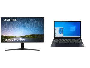 "Samsung C27R500 27"" Full HD 1920 x 1080 AMD FreeSync VGA HDMI Flicker-Free Curved LED Backlit Monitor and Lenovo Laptop IdeaPad 3 15ITL6 82H80006US Intel Core i5 11th Gen 1135G7 (2.40 GHz) 8 GB Memory 256 GB PCIe SSD Intel Iris Xe Graphics"