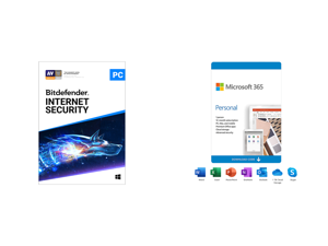Bitdefender Internet Security 2021 - 1 Year / 1PC - Download and Microsoft 365 Personal   12-Month Subscription 1 person   Premium Office apps   1TB OneDrive cloud storage   PC/Mac Download