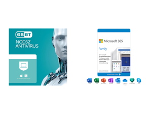 ESET NOD32 Antivirus 1 Year 1 Device and Microsoft 365 Family | 12-Month Subscription up to 6 people | Premium Office Apps | 1TB OneDrive cloud storage | PC/Mac Download