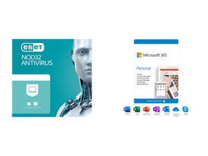 ESET NOD32 Antivirus 1 Year 1 Device and Microsoft 365 Personal | 12-Month Subscription 1 person | Premium Office apps | 1TB OneDrive cloud storage | PC/Mac Download