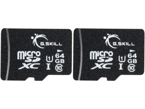 2 x G.Skill 64GB microSDXC UHS-I/U1 Class 10 Memory Card with Adapter (FF-TSDXC64GA-U1)