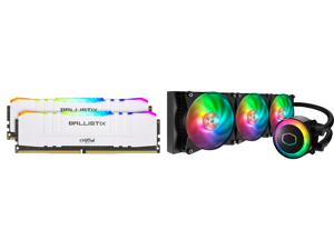Crucial Ballistix RGB 3600 MHz DDR4 DRAM Desktop Gaming Memory Kit 16GB (8GBx2) CL16 BL2K8G36C16U4WL (WHITE) and Cooler Master MasterLiquid ML360R ARGB Close-Loop AIO CPU Liquid Cooler 360 Radiator Dual Chamber Pump Addressable RGB Lighting