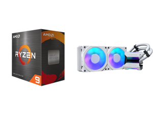 AMD Ryzen 9 5900X 3.7 GHz Socket AM4 100-100000061WOF Desktop Processor and Phanteks Glacier One 240MPH D-RGB AIO Liquid CPU Cooler Infinity Mirror Pump Cap Design 2x Silent 120mm MP PWM Fans 2x D-RGB Halos Fan Frames White