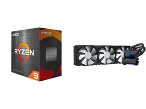 AMD Ryzen 9 5900X 3.7 GHz Socket AM4 100-100000061WOF Desktop Processor and Phanteks Glacier One 360MP D-RGB AIO Liquid CPU Cooler Infinity Mirror Pump Cap Design 3x Silent 120mm MP PWM Fans Black