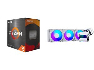 AMD Ryzen 9 5900X 3.7 GHz Socket AM4 100-100000061WOF Desktop Processor and Phanteks Glacier One 360MPH D-RGB AIO Liquid CPU Cooler Infinity Mirror Pump Cap Design 3x Silent 120mm MP PWM Fans 3x D-RGB Halos Fan Frames White