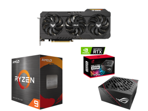 ASUS TUF Gaming GeForce RTX 3090 24GB GDDR6X PCI Express 4.0 x16 SLI Support Video Card TUF-RTX3090-O24G-GAMING and AMD Ryzen 9 5950X Vermeer 16-Core 3.4 GHz Socket AM4 105W 100-100000059WOF Desktop Processor and ASUS ROG STRIX 1000W Gold P