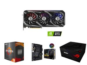 ASUS ROG STRIX GeForce RTX 3080 Ti 12GB GDDR6X PCI Express 4.0 x16 Video Card ROG-STRIX-RTX3080TI-O12G-GAMING and AMD Ryzen 9 5950X Vermeer 16-Core 3.4 GHz Socket AM4 105W 100-100000059WOF Desktop Processor and ASUS TUF Gaming X570-PRO (WiF