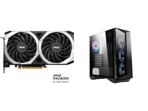 MSI Mech Radeon RX 6600 XT 8GB GDDR6 PCI Express 4.0 ATX Video Card RX 6600 XT MECH 2X 8G OC and MSI MPG GUNGNIR 110R ATX Mid Tower Computer Case