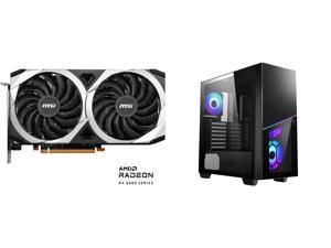 MSI Mech Radeon RX 6600 XT 8GB GDDR6 PCI Express 4.0 ATX Video Card RX 6600 XT MECH 2X 8G OC and MSI MPG SEKIRA 100R Black Steel / Plastic / Tempered Glass ATX Mid Tower Gaming Case with 4 x 120mm ARGB Fan Pre-installed