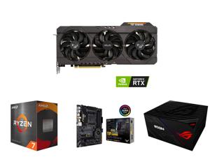 ASUS TUF Gaming GeForce RTX 3070 8GB GDDR6 PCI Express 4.0 Video Card TUF-RTX3070-O8G-V2-GAMING and AMD Ryzen 7 5800X Vermeer 8-Core 3.8 GHz Socket AM4 105W 100-100000063WOF Desktop Processor and ASUS TUF Gaming X570-PRO (WiFi 6) AMD AM4 (3