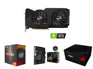ASUS Dual NVIDIA GeForce RTX 3070 V2 OC Edition Gaming Graphics Card (PCIe 4.0 8GB GDDR6 LHR HDMI 2.1 DisplayPort 1.4a Axial-tech Fan Design Dual BIOS Protective Backplate) and AMD Ryzen 7 5800X Vermeer 8-Core 3.8 GHz Socket AM4 105W 100-10