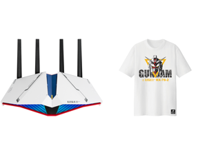 ASUS RT-AX82U AX5400 Dual-band WiFi 6 Gaming Router GUNDAM EDITION Game Acceleration Mesh WiFi Support Lifetime Free Internet Security Dedicated Gaming Port Mobile Game Boost MU-MIMO and ASUS ROG T-Shirt GUNDAM EDITION Limited Edition Short