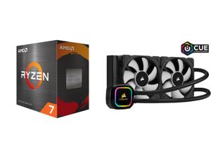 AMD Ryzen 7 5800X 3.8 GHz Socket AM4 100-100000063WOF Desktop Processor and CORSAIR iCUE H100i RGB PRO XT 240mm Radiator Dual 120mm PWM Fans Software Control Liquid CPU Cooler CW-9060043-WW