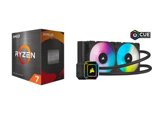 AMD Ryzen 7 5800X 3.8 GHz Socket AM4 100-100000063WOF Desktop Processor and Corsair Hydro Series iCUE H100i ELITE CAPELLIX 240mm Radiator Dual ML120 RGB PWM Fans Powerful iCUE Software Liquid CPU Cooler CW-9060046-WW
