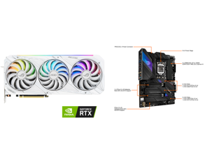 ASUS ROG Strix GeForce RTX 3090 24GB GDDR6X PCI Express 4.0 SLI Support Video Card ROG-STRIX-RTX3090-O24G-WHITE and ASUS ROG STRIX Z590-E GAMING WIFI LGA 1200 Intel Z590 SATA 6Gb/s ATX Intel Motherboard