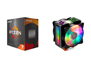 AMD Ryzen 7 5800X 3.8 GHz Socket AM4 100-100000063WOF Desktop Processor and Cooler Master MasterAir MA410M Addressable RGB CPU Air Cooler w/ Independently LEDs 4 Continuous Direct Contact 2.0 Heatpipes Aluminum Fins Push-Pull Dual MF120R 12