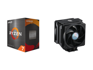 AMD Ryzen 7 5800X 3.8 GHz Socket AM4 100-100000063WOF Desktop Processor and Cooler Master MasterAir MA612 Stealth CPU Air Cooler 6 Heat Pipes Nickel Plated Base Aluminum Black Fins Push-Pull Dual SickleFlow Fans for AMD Ryzen/Intel 1200/115