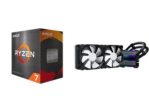 AMD Ryzen 7 5800X 3.8 GHz Socket AM4 100-100000063WOF Desktop Processor and Phanteks Glacier One 240MP D-RGB AIO Liquid CPU Cooler Infinity Mirror Pump Cap Design 2x Silent 120mm MP PWM Fans Black