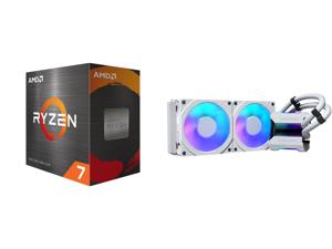 AMD Ryzen 7 5800X 3.8 GHz Socket AM4 100-100000063WOF Desktop Processor and Phanteks Glacier One 240MPH D-RGB AIO Liquid CPU Cooler Infinity Mirror Pump Cap Design 2x Silent 120mm MP PWM Fans 2x D-RGB Halos Fan Frames White