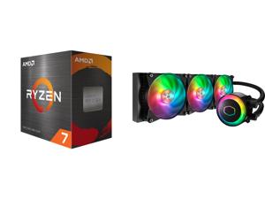 AMD Ryzen 7 5800X 3.8 GHz Socket AM4 100-100000063WOF Desktop Processor and Cooler Master MasterLiquid ML360R ARGB Close-Loop AIO CPU Liquid Cooler 360 Radiator Dual Chamber Pump Addressable RGB Lighting Dual MF120R Fans for AMD Ryzen/Intel